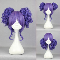 35cm Long Blue Beautiful lolita wig Anime Wig Pretty Hair Cosplay Manga 2 Ponytails Purple Curly Lolita Wig,Colorful Candy Colored synthetic Hair Extension Hair piece 1pcs WIG-301E