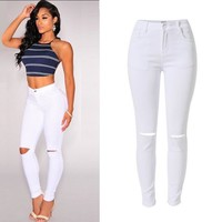 ChoosyVirgo women hole Ripped jeans ladies Skinny jeans Femme Stretch denim pants with pockets Hip Lift denim trousers - white c