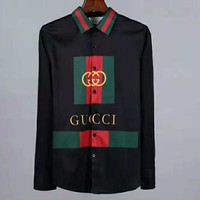 GUCCI 2018 new trend slim long sleeve double G printing men's shirt Black