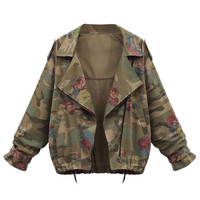 Army Green Floral Drawstring Jacket