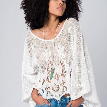 Callie Cotton Crochet Lace White Top
