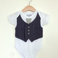 Baby boy clothes 6 to 9 months, vest and tie Onesuit, formal baby vest, blue striped baby waistcoat, Etsy UK