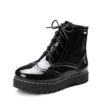 Patent Leather Women Flats Shoes Simple Boots Fall|Winter 5705