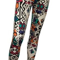 eVogues Plus size Colorful Abstract Print Cotton Legging - 3X