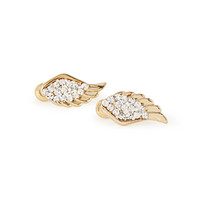 FOREVER 21 Rhinestone Encrusted Wing Studs Gold/Clear One