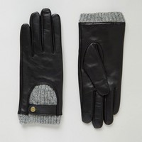 ASOS Leather And Cable Knit Gloves with Touch Screen at asos.com