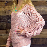 Dazzled By Night Pastel Pink Open Knit Sweater