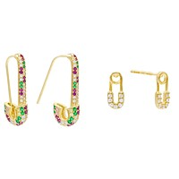 CZ Safety Pin Earring Combo Set