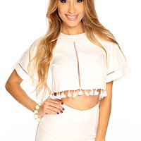 White Fringe Accent Two Piece Outfit