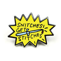 Snitches Get Stitches Enamel Pin - Knife Pin