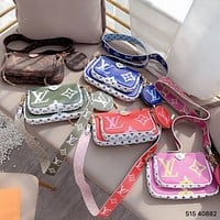 Hipgirls Louis Vuitton LV hot sale new ladies color matching three-piece cosmetic bag diagonal bag
