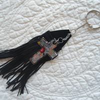 Black Leather Fringe with a Black Lampwork Glass Cross Key Chain or Purse/Bag Bling Boho/Hippie/Gypsy