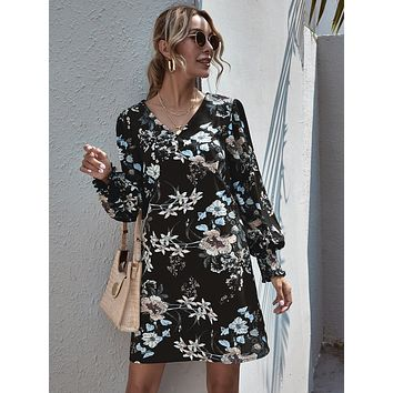 Floral Print Shirred Cuff Bishop Sleeve Dress