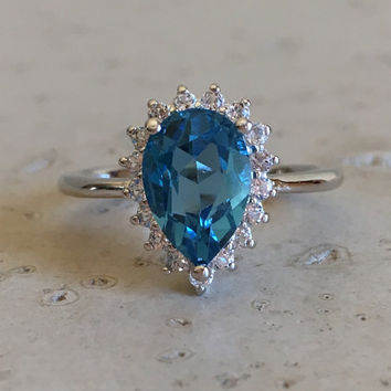 London Blue Topaz Engagement Ring- December Birthstone Ring- Promise Ring for Her- Gemstone Ring- Proposal Ring- Sterling Silver Ring