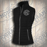Monogrammed Quilted Black w/ Grey Trim Vest  Font shown NATURAL CIRCLE in grey