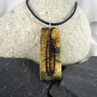 Natural Wood Feather Pendant Necklace, Mens Feather Necklace, Mens Leather Necklace, Wood Burl Jewelry