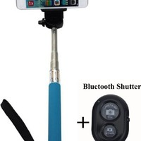OOOUSE Extendable Selfie Handheld Stick Monopod with Adjustable Phone Holder and Bluetooth Wireless Remote Shutter for iPhone Samsung and other system over IOS 6.0 and Android 4.2.2 Smartphones (Blue with Shutter)