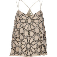 River Island Womens Grey embellished strappy cami