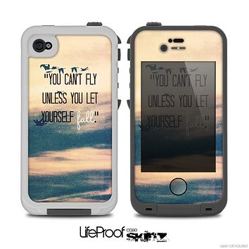 "The Pastel Sunset ""You Can't Fly Unless You Let Yourself Fall"" Skin for the iPhone 5/5s or 4/4s LifeProof Case"