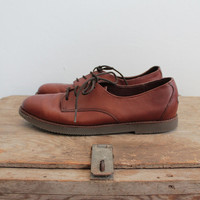 Vintage 80s Brown Lightweight Leather Lace Up Oxfords | women's 6.5