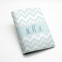 Custom Personalized chevron zigzag pu leather Passport Holder Case Cover -- zig zag chevron, custom name monogram initial, many colors
