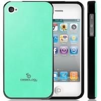 iPhone 4S Case, Caseology® [Matte Hybrid] Premium PU Leather Case [Turquoise Mint] [Shock Absorbent TPU] for Apple iPhone 4S - Turquoise Mint