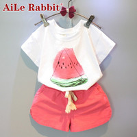 Girls Clothing Sets 2016 new summer girls clothes Watermelon Pattern Print White T shirt + Red Shorts Children clothing