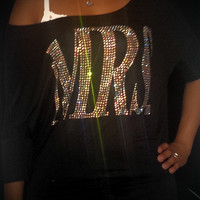 Gorgeous MRS Crystallized Bling Dolman Bride Wife to Be Wifey Off the Shoulder Shirt