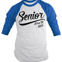 Shirts By Sarah Men's Senior Class 2016 T-Shirt Graduation 3/4 Sleeve Raglan Shirt