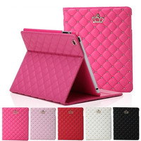 Women's Fashion Crystal Luxury Leather Crown Ipad Case Stand Cover Housing Shell  for ipad 2 3 4 ipad Air ipad 5 ipad Mini iPad Air 2 / iPad 6 = 1958447364