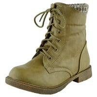Kids Ankle Boots Knitted Cuff Casual Combat Lace Up Shoes Beige SZ