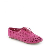 Cambrdige 04 lace Ups Cut Out Oxfords Flats Jazz FUCHSIA