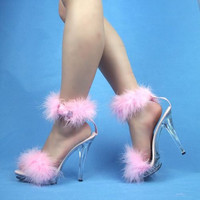 VIP 5 inch Handmade Baby Pink Marabou Boa Ankle Strap Slippers High Heel Sandals Woman Shoes (Other Platform Heights Available!)