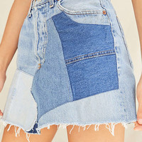 Urban Renewal Remade High-Rise Pieced Denim Levi's Mini Skirt | Urban Outfitters