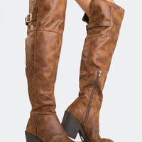 Distressed Knee High Boots