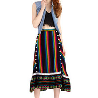 ModCloth Boho Long A-line Bright as can Beat Skirt