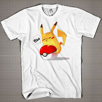 PIKACHU WITH BALL  Mens and Women T-Shirt Available Color Black And White