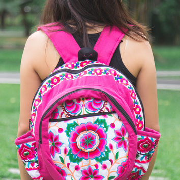 Tribal Backpack with Hmong Embroidered in White