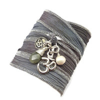 Hand Painted Silk Ribbon Bracelet with Om Charms,Pearl, and Labradorite, yoga jewelry, wrapped wrapping bracelet, wrap around,wrist wrap