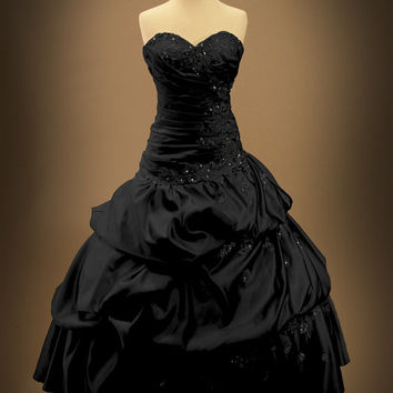 Black Gothic Wedding Dress Ball Gown