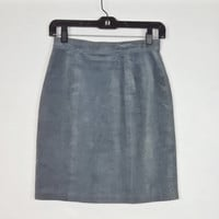 Vintage Suede Leather Pencil Skirt Gray Grey High Waist Above Knee Length 80s 90s Fashion