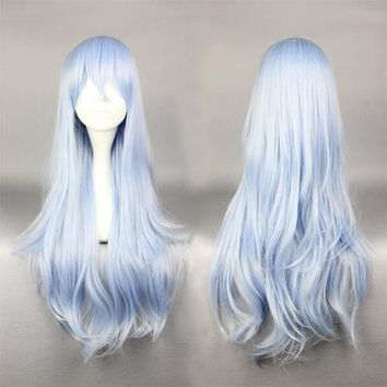 75cm Long Light Blue Cosplay Anime Kantai Collection:KanColle Hibiki Wig,Colorful Candy Colored synthetic Hair Extension Hair piece 1pcs WIG-577F