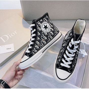 DIOR × CONVERSE woman Classic black and white Embroidered surround stitching shoes