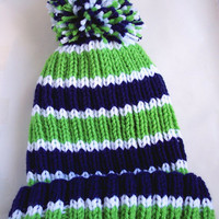Seattle Seahawks Striped Adult Hand Knitted Hat