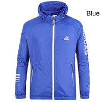 ADIDAS 2018 Autumn Sportswear Hooded Casual Jacket blue