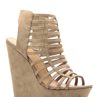 Taupe Faux Leather Strappy Platform Wedges
