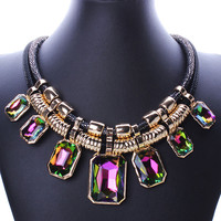 MultiColor Rhinestoned Pendant Plated Necklace