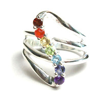 """Sterling Chakra """"Go with the Flow"""" Ring"""