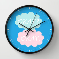 Okay Okay - Thyroid Cancer Awareness Colours Blue Pink and Teal, The Fault in Our Stars Wall Clock by BeautifulHomes   Society6