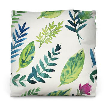 Leafy Greens Outdoor Throw Pillow